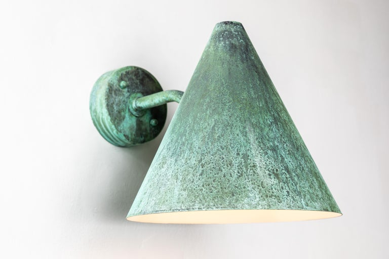 Pair of Hans-Agne Jakobsson 'Tratten' Verdigris Patinated Outdoor Sconces In New Condition For Sale In Glendale, CA