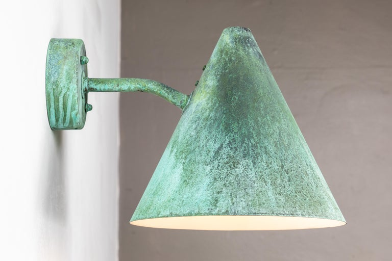 Contemporary Pair of Hans-Agne Jakobsson 'Tratten' Verdigris Patinated Outdoor Sconces For Sale