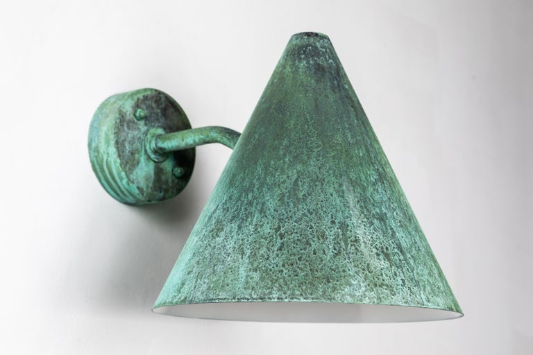 Pair of Hans-Agne Jakobsson 'Tratten' Verdigris Patinated Outdoor Sconces For Sale 3