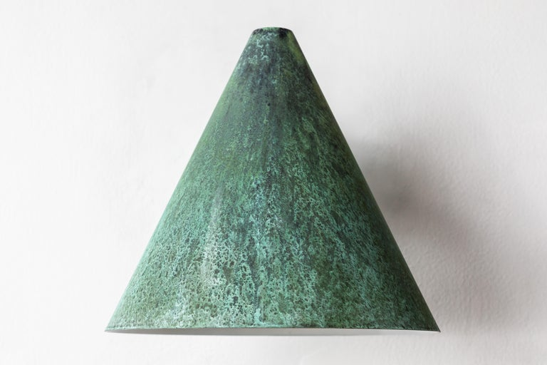Pair of Hans-Agne Jakobsson 'Tratten' Verdigris Patinated Outdoor Sconces For Sale 4