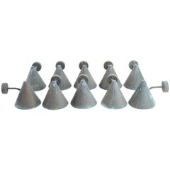 """Hans-Agne Jakobsson """"Tratten"""" Set of Ten 1960s Patinated Copper Wall Lights"""