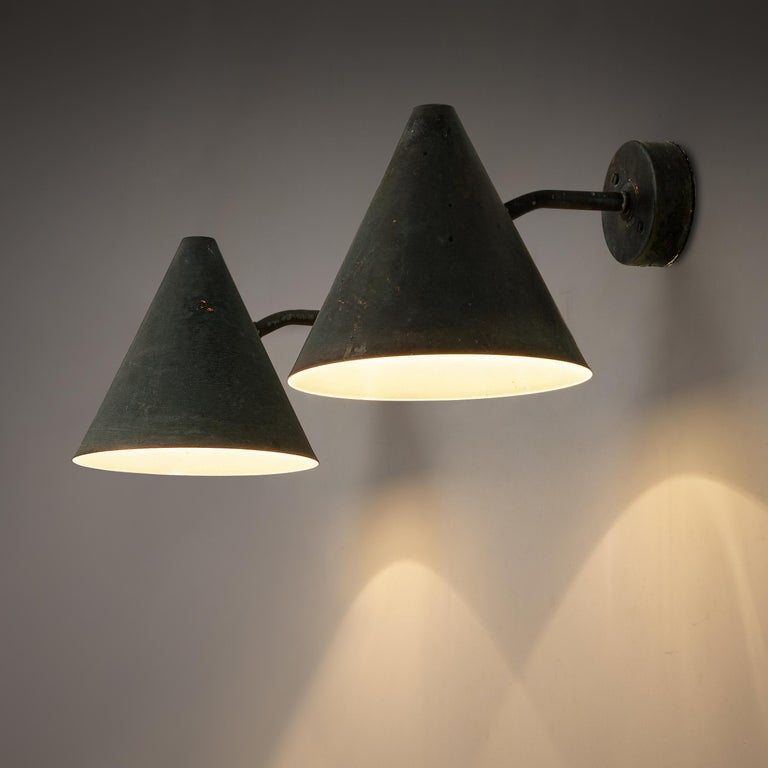 Hans-Agne Jakobsson for AB Markaryd, wall lights 'Tratten', copper, Sweden, 1950s  Set of cone-shaped wall lights designed by Hans-Agne Jakobsson for AB Markaryd, in beautifully patinated copper with an off-white inside. The light that this model