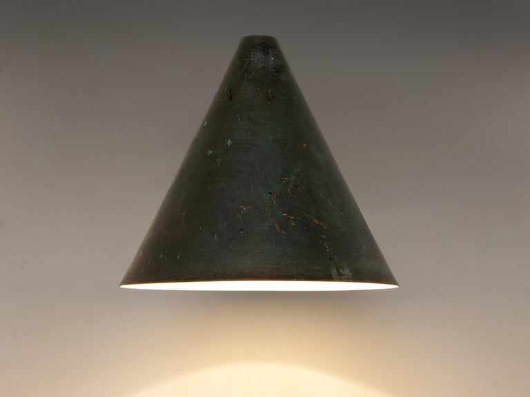 Scandinavian Modern Hans-Agne Jakobsson 'Tratten' Wall Lights in Patinated Copper For Sale