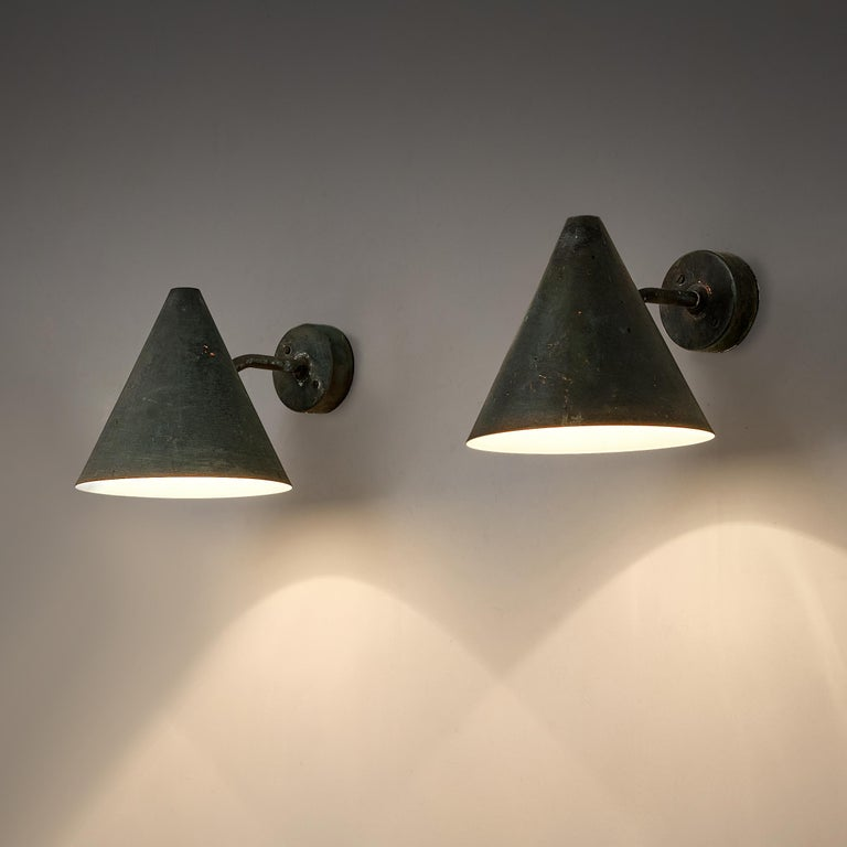 Swedish Hans-Agne Jakobsson 'Tratten' Wall Lights in Patinated Copper For Sale