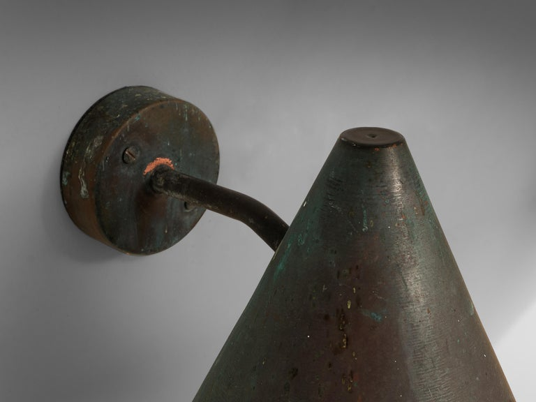 Hans-Agne Jakobsson 'Tratten' Wall Lights in Patinated Copper In Good Condition For Sale In Waalwijk, NL