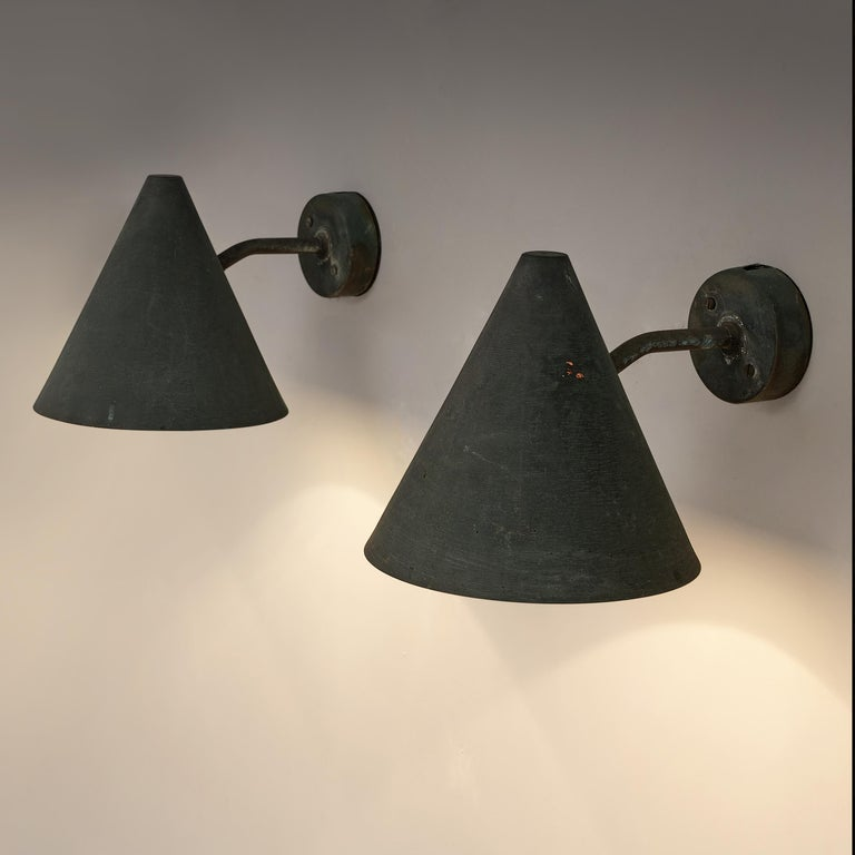 Mid-20th Century Hans-Agne Jakobsson 'Tratten' Wall Lights in Patinated Copper For Sale