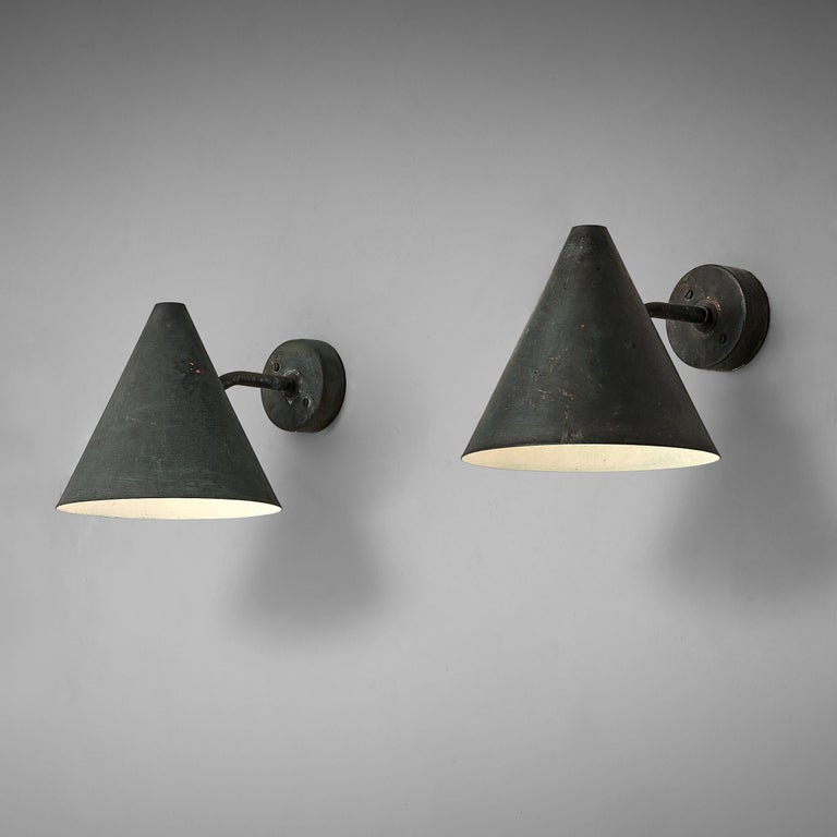 Hans-Agne Jakobsson 'Tratten' Wall Lights in Patinated Copper For Sale 1