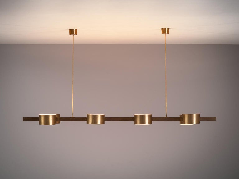 Mid-Century Modern Hans Agne Jakobsson Very Large Chandelier with Eight Shades in Brass For Sale