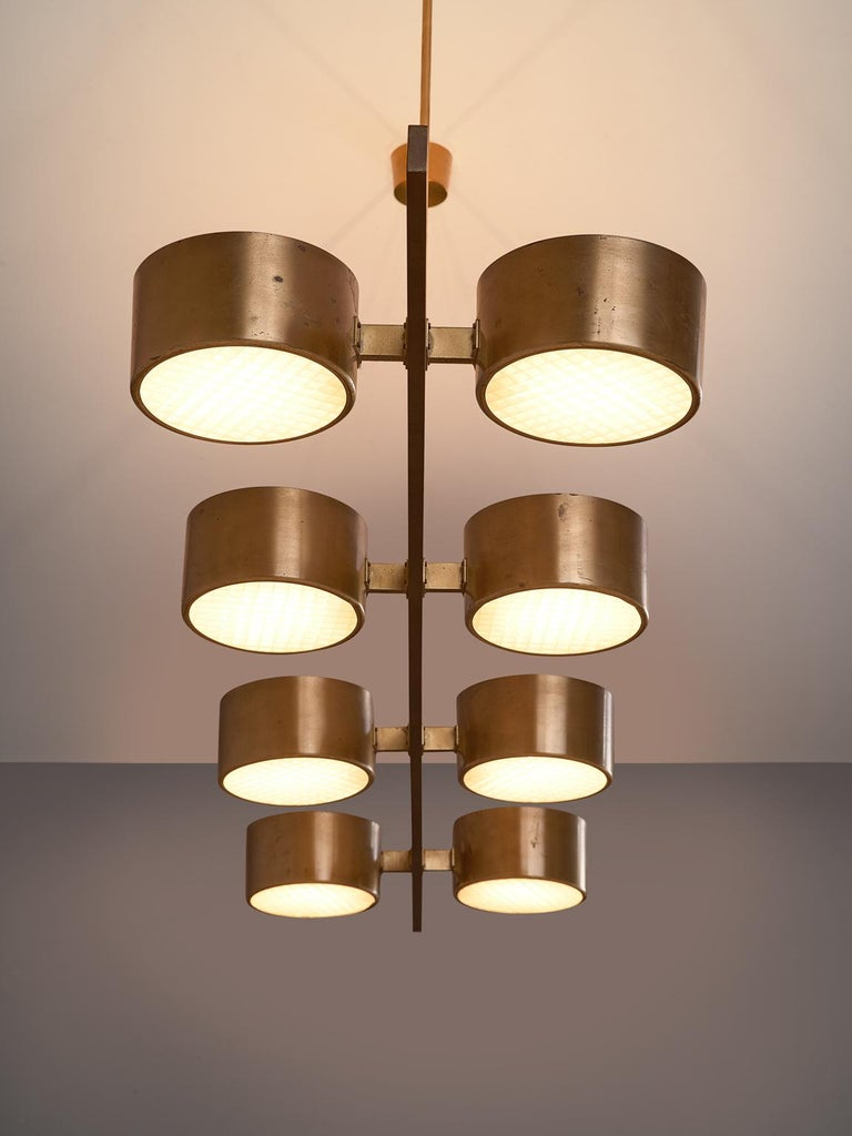 Swedish Hans Agne Jakobsson Very Large Chandelier with Eight Shades in Brass For Sale