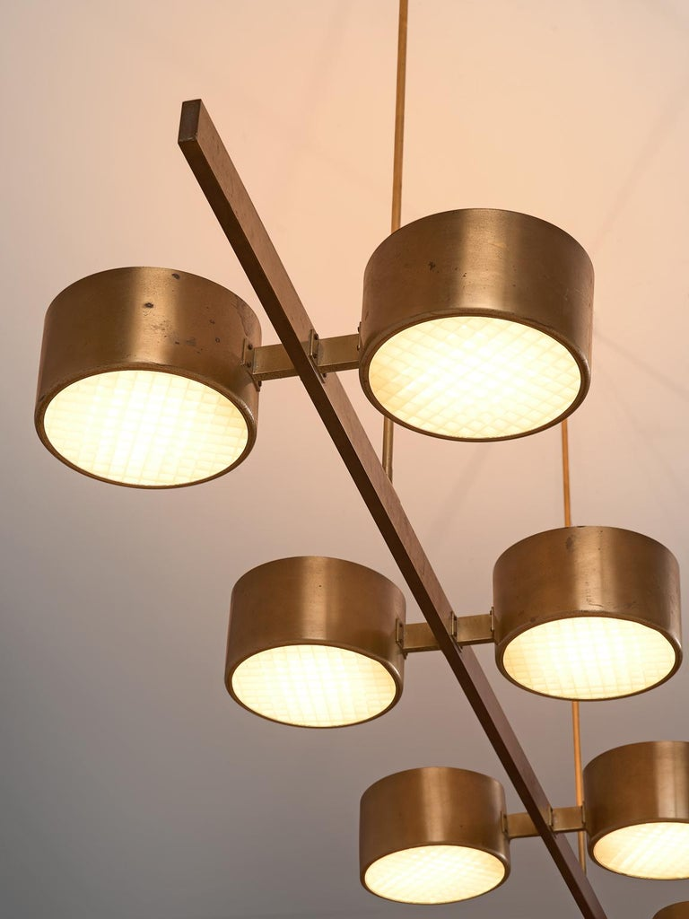 Hans Agne Jakobsson Very Large Chandelier with Eight Shades in Brass In Good Condition For Sale In Waalwijk, NL