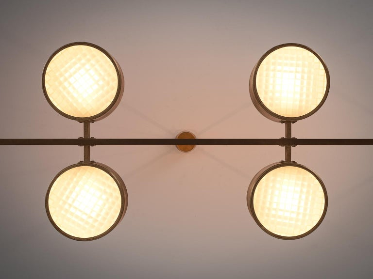 20th Century Hans Agne Jakobsson Very Large Chandelier with Eight Shades in Brass For Sale