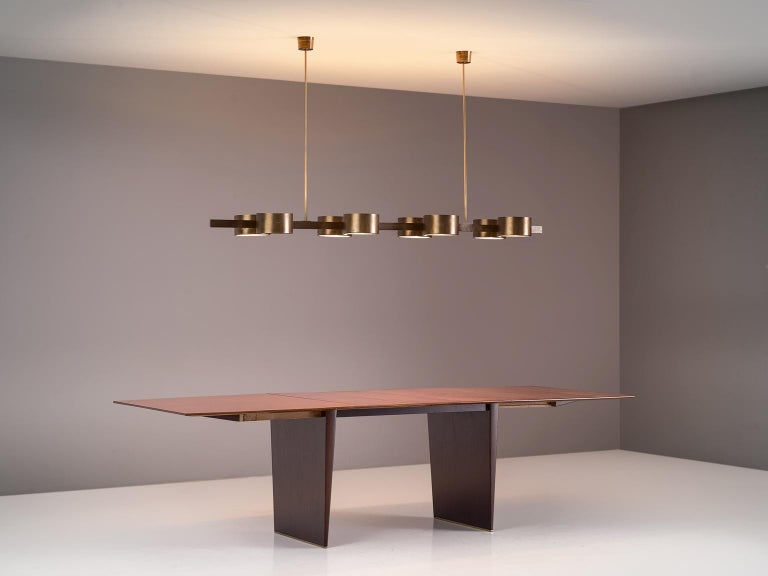 Hans Agne Jakobsson Very Large Chandelier with Eight Shades in Brass For Sale 1