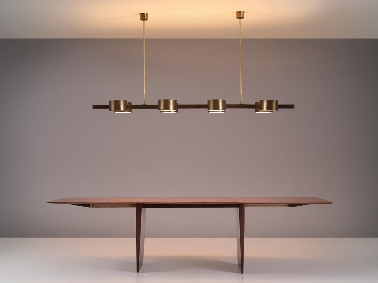 Hans Agne Jakobsson Very Large Chandelier with Eight Shades in Brass For Sale 2
