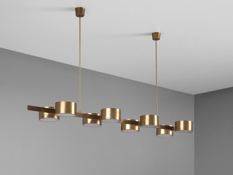 Hans Agne Jakobsson Very Large Chandelier with Eight Shades in Brass For Sale 3