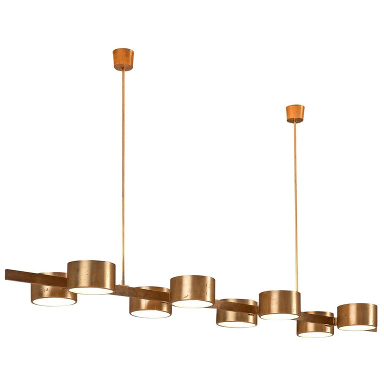 Hans Agne Jakobsson Very Large Chandelier with Eight Shades in Brass For Sale