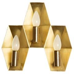 Hans Agne Jakobsson Wall Lamp, Handmade of Brass, Scandinavian Production