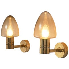 Hans-Agne Jakobsson Wall Lamps Model 'V-220' in Brass and Glass