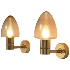 Hans-Agne Jakobsson Wall Lamps Model V-220 in Brass and Smoke Glass