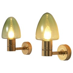 Hans-Agne Jakobsson Wall Lamps Model 'V-220' in Brass and Green Glass