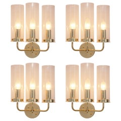 Hans-Agne Jakobsson Wall Lights Model 'Sonata' in Glass and Brass