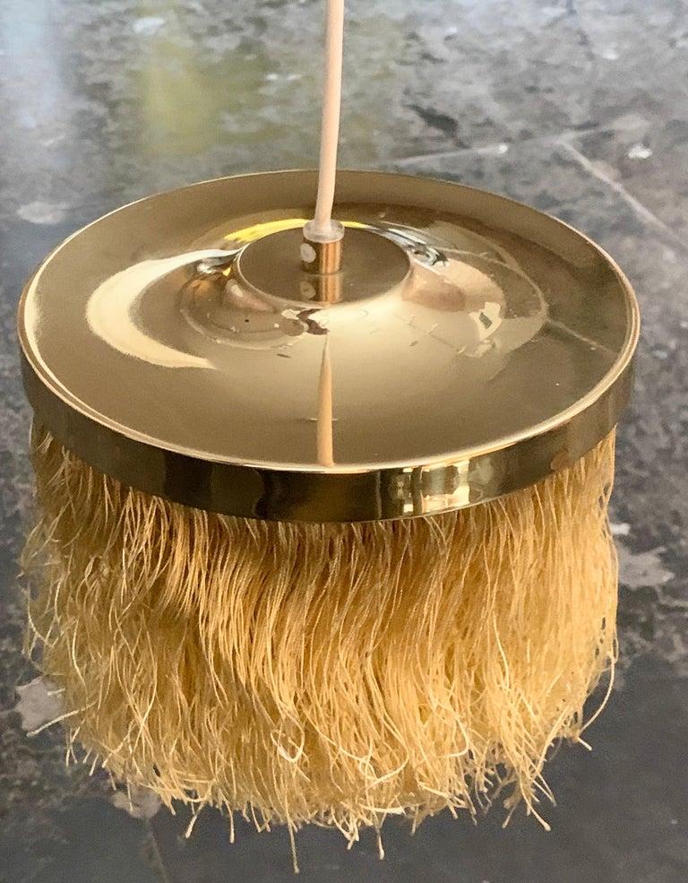 Scandinavian Modern Hans-Agne Jakobsson Yellow Silk Fringe Pendant Brass Light, 1960s For Sale