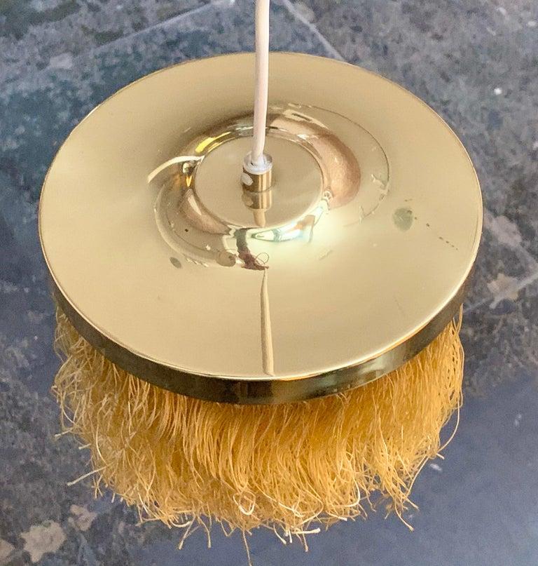 Swedish Hans-Agne Jakobsson Yellow Silk Fringe Pendant Brass Light, 1960s For Sale