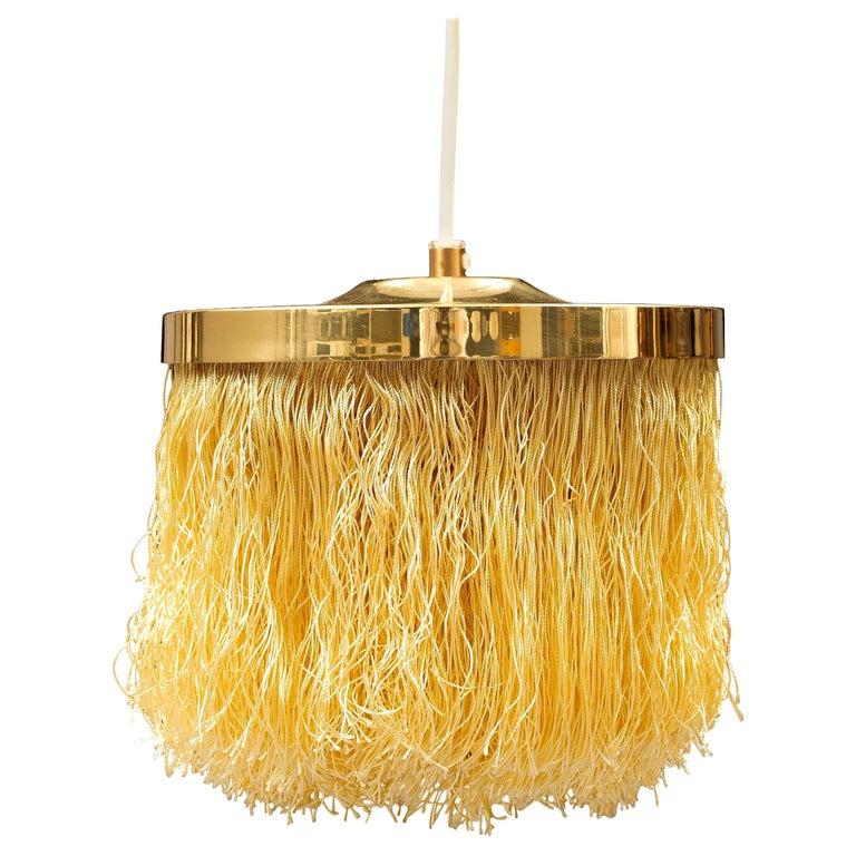 Hans-Agne Jakobsson Yellow Silk Fringe Pendant Brass Light, 1960s For Sale