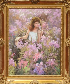 """Pretty In Pink"", Hans Amis, Realistic Portrait, Flowers, Original Oil, 40x30 in"