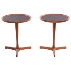 Hans Andersen Danish Teak Pedestal Side Tables with Black Laminate Tops