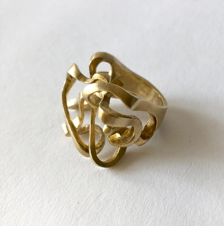 Postmodernist 14K gold sculptural ring created by Hans Appenzeller of Amsterdam, circa 2000. Ring is a finger size 7.75 - 8 and is signed with the 585 hallmark for gold content.  In very good vintage condition.  34.1 grams.   After his training at