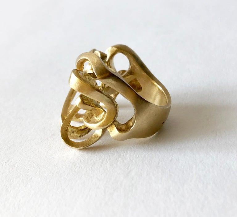 Artisan Hans Appenzeller 14 Karat Gold Dutch Postmodern Sculptural Ring For Sale