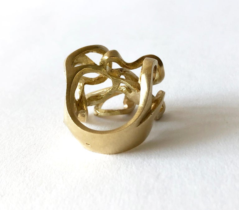Hans Appenzeller 14 Karat Gold Dutch Postmodern Sculptural Ring In Good Condition For Sale In Los Angeles, CA