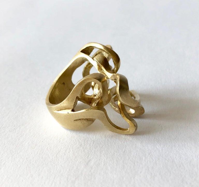 Women's or Men's Hans Appenzeller 14 Karat Gold Dutch Postmodern Sculptural Ring For Sale