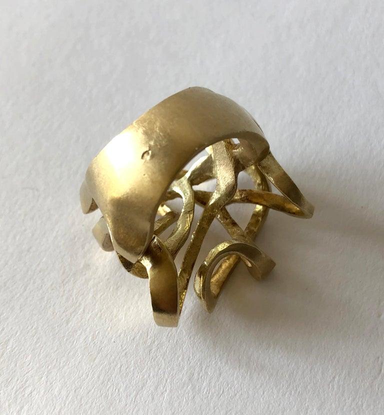 Hans Appenzeller 14 Karat Gold Dutch Postmodern Sculptural Ring For Sale 1