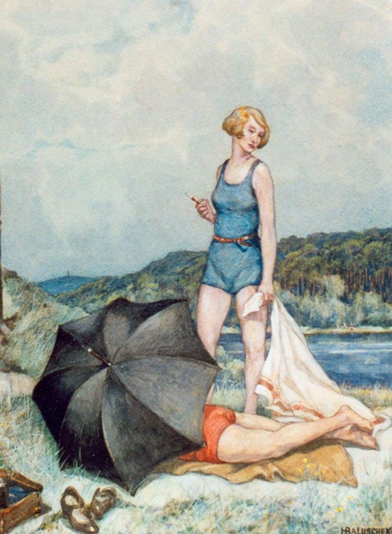 Hans Baluschek Sommer an der Havel ( Summer On The River Havel ), 1934 - Realist Painting by Hans Baluschek
