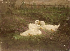 "Hans Bartolo Brand ""The ducks in the garden"" oil on wood. Circa 1915"
