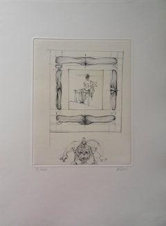 Framed Woman - Original Etching Handsigned, Numbered