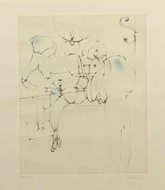 Interior with figure - Original Etching by Hans Bellmer - 1971