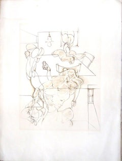 Interior with Image - Original Etching by H. Bellmer - 1971