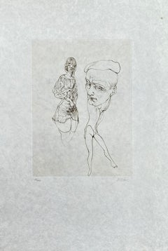 Man With a Cap - Original Etching Hand Signed Numbered - 100 copies