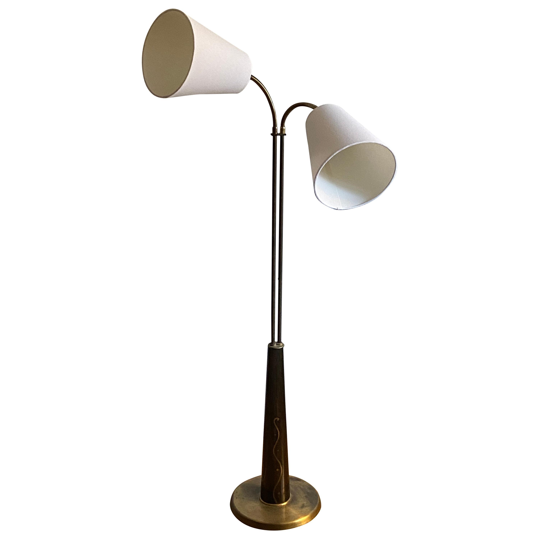 Hans Bergström Attributed, Functionalist Floor Lamp, Brass, Wood Inlays, 1940s