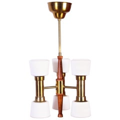Hans Bergström Brass and Teak Ceiling Lamp by ASEA