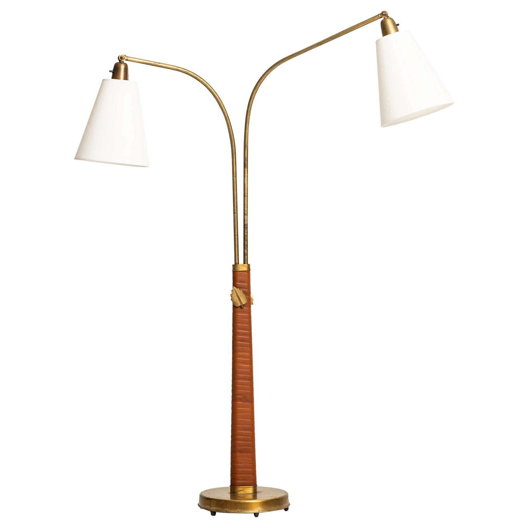 Hans Bergström Floor Lamp Model No 500 by Ateljé Lyktan in Åhus, Sweden