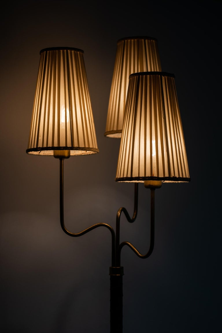Hans Bergström Floor Lamp with 3 Arms Produced by ASEA in Sweden For Sale 3