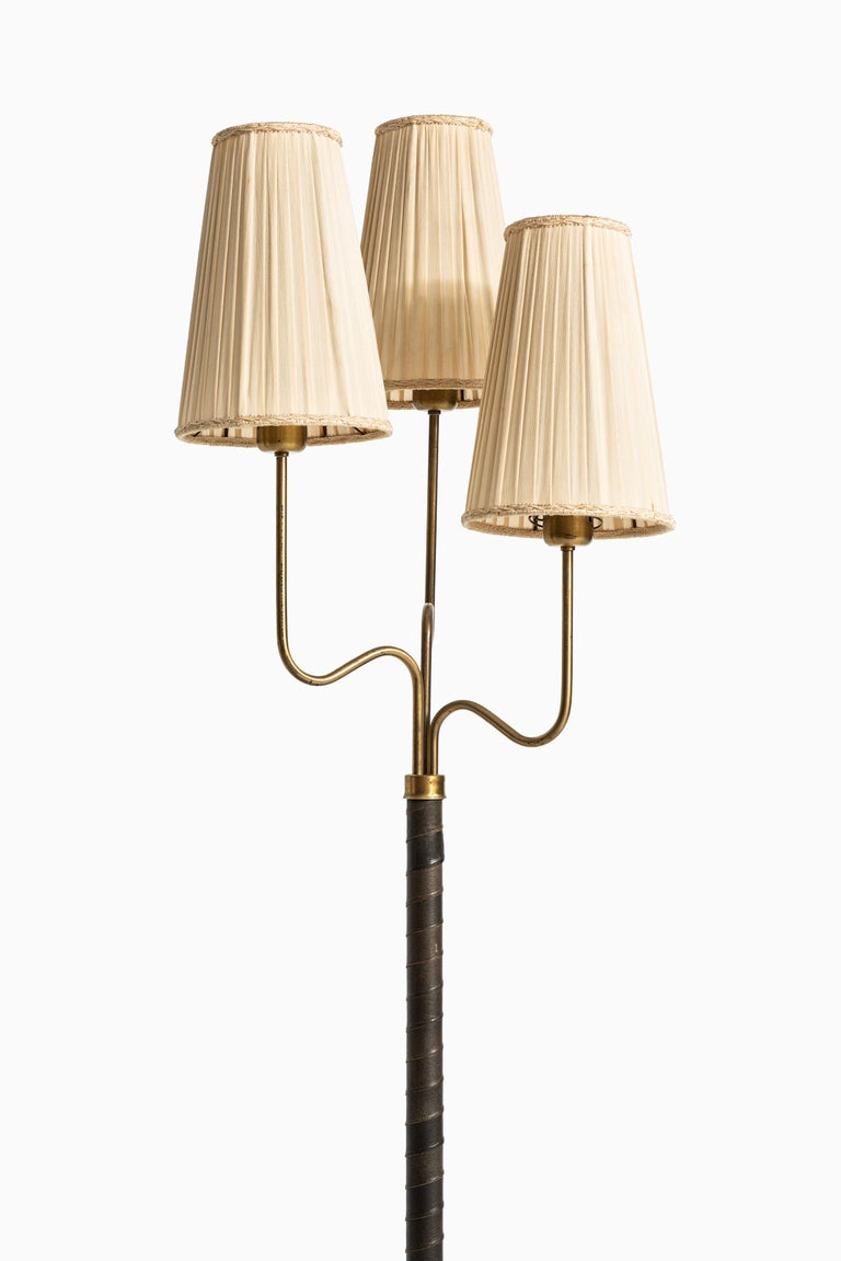 Scandinavian Modern Hans Bergström Floor Lamp with 3 Arms Produced by ASEA in Sweden For Sale
