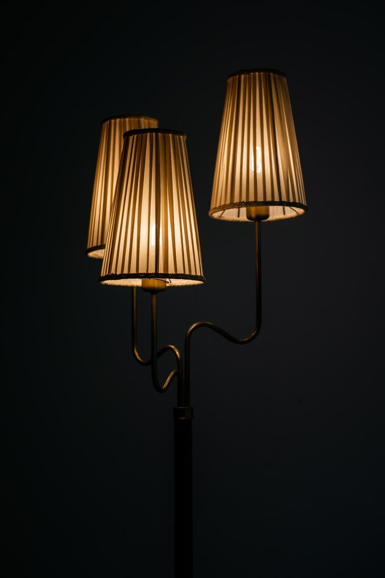 Brass Hans Bergström Floor Lamp with 3 Arms Produced by ASEA in Sweden For Sale