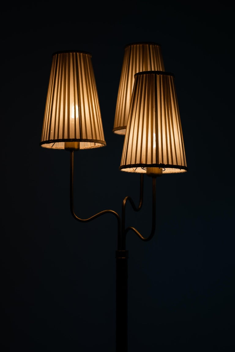 Hans Bergström Floor Lamp with 3 Arms Produced by ASEA in Sweden For Sale 1