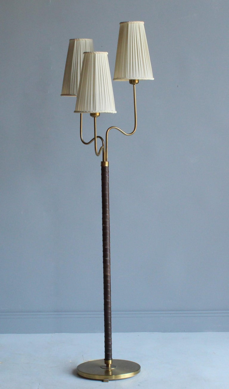 Scandinavian Modern Hans Bergström, Rare Floor Lamp, Brass, Leather, Fabric, ASEA, Sweden, 1946 For Sale