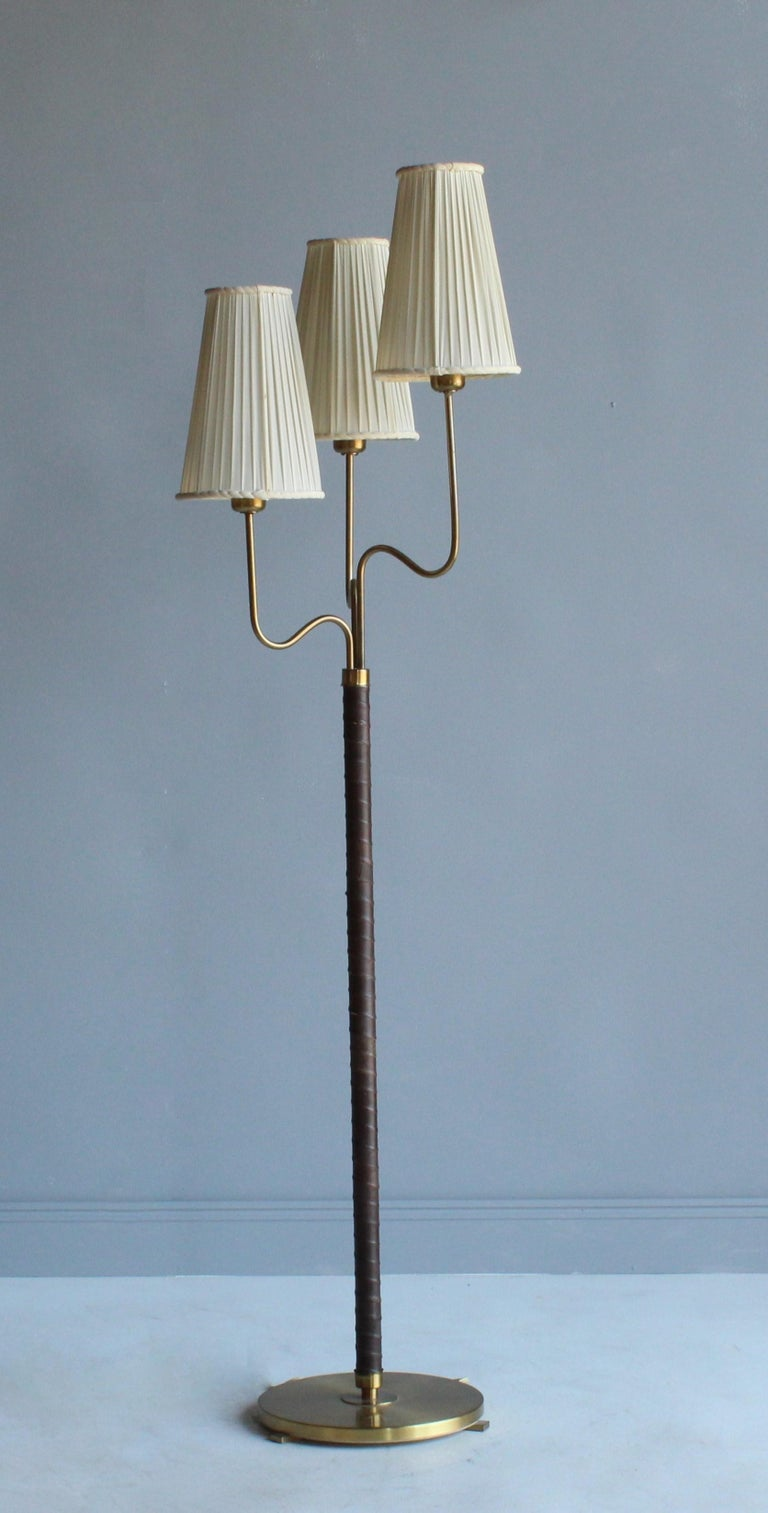 Swedish Hans Bergström, Rare Floor Lamp, Brass, Leather, Fabric, ASEA, Sweden, 1946 For Sale