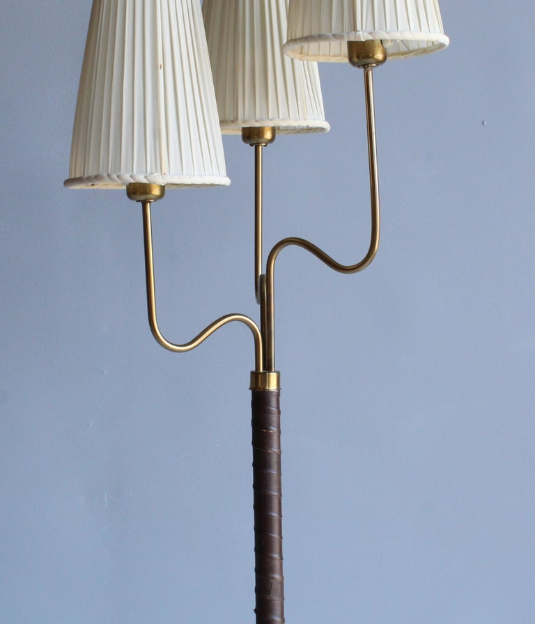 Hans Bergström, Rare Floor Lamp, Brass, Leather, Fabric, ASEA, Sweden, 1946 In Good Condition For Sale In West Palm Beach, FL